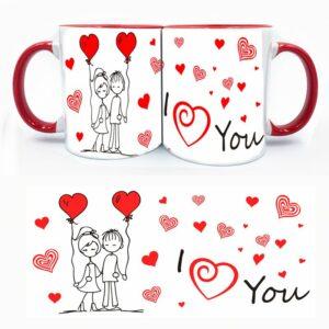 Κούπα με σκίτσο ζευγάρι i love you