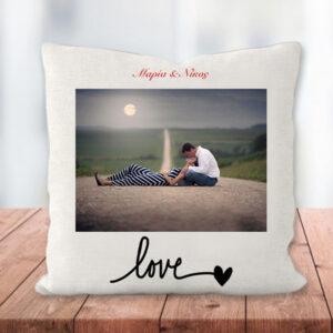 """Προσωποποιημένο Μαξιλάρι """"Love"""" με Φωτογραφία"""