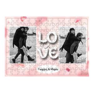 "Puzzle ""LOVE YOU"" με δύο φωτογραφίες."